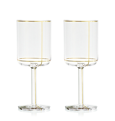 헤이 레드 와인잔 HAY Colour Glass, Red wine Gold lines 1pcs