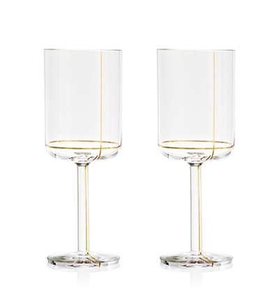 헤이 화이트와인잔 HAY Colour Glass, White wine Gold lines 2pcs