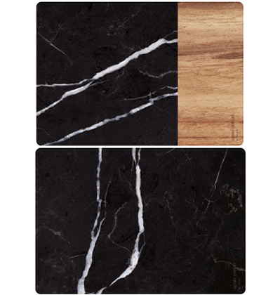 이팅쿠투어 테이블매트 Eating Couture PP Table Mat - (Marble Black&Wood, 양면)