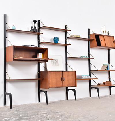 빈티지 책장 Louis van Teeffelen Wall Unit System for Webe, 1950년대